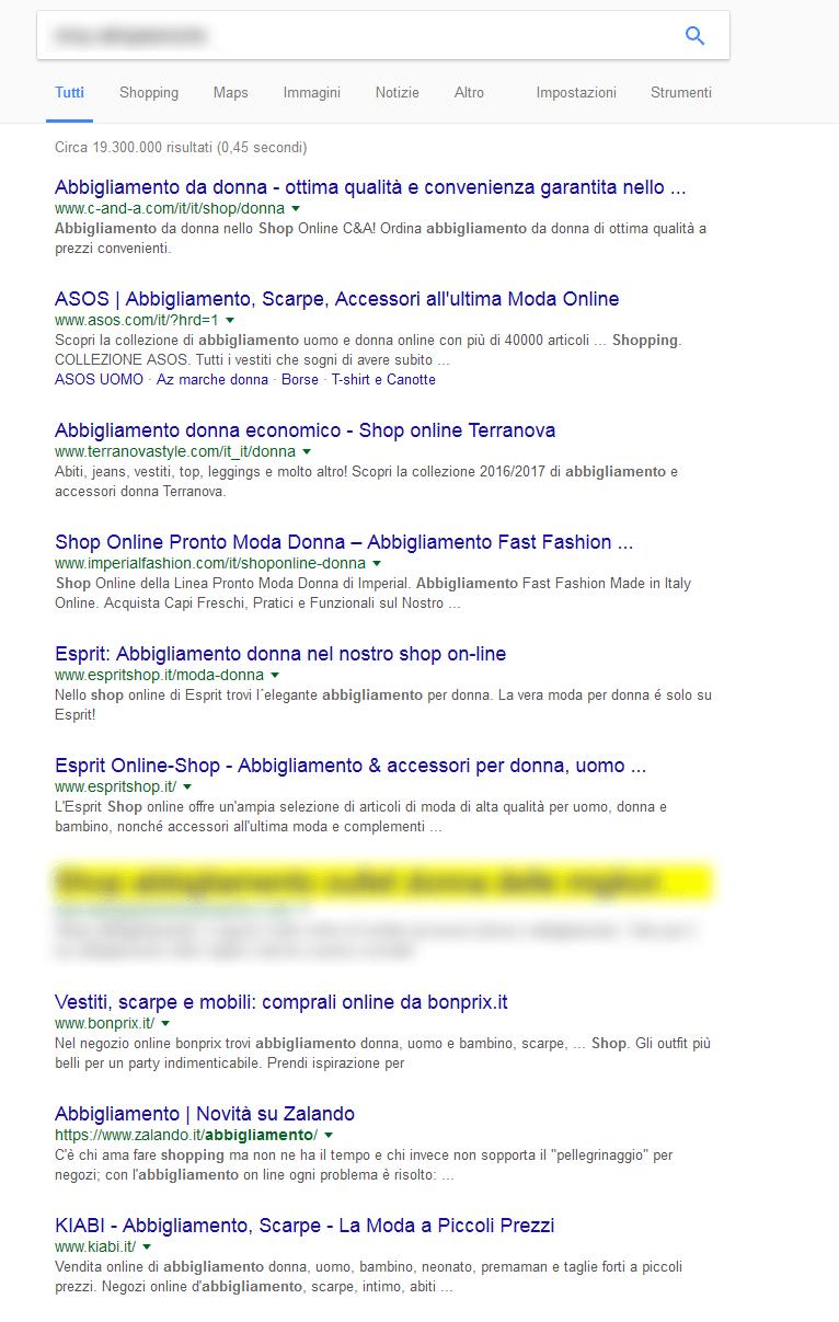 Sito nuovo nel settore abbigliamento di marca, in prima pagina di Google dal nulla !